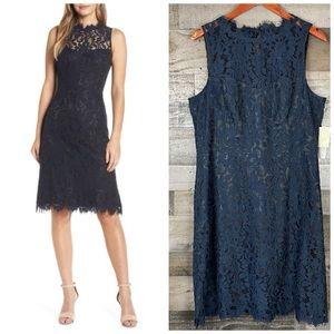 Eliza J High Neck Lace Sheath Dress Blue Sz 16